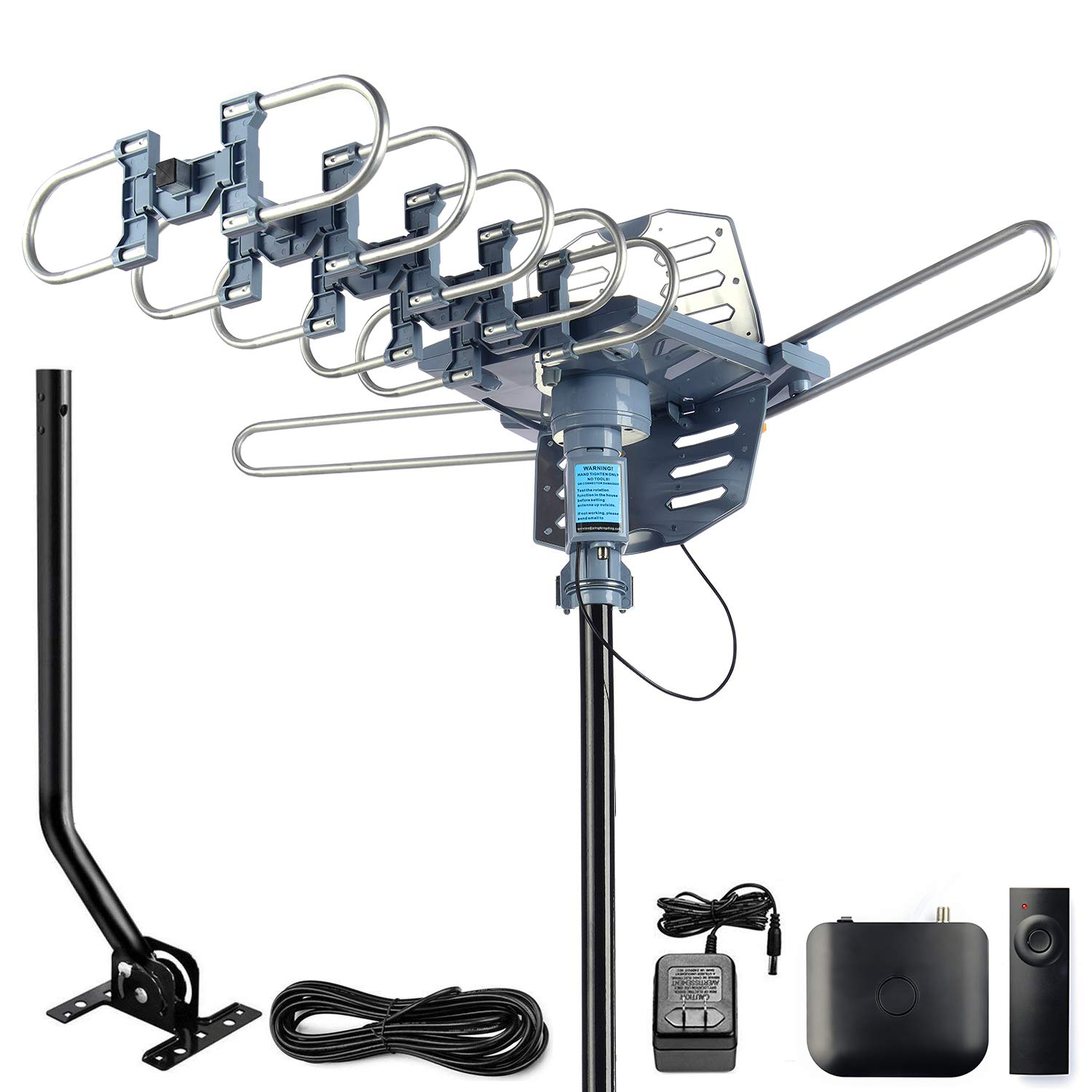 CeKay Digital Outdoor Amplified HD TV Antenna Motorized 360 Degree Rotation 150 Miles with 40FT RG6 Coax Cable and Mounting Pole Snap-On Installation - UHF/VHF/1080P/4K by CeKay