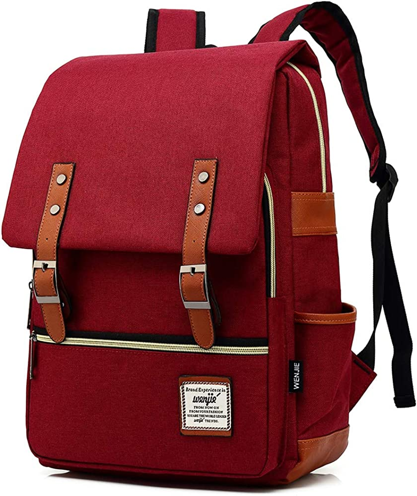 HITOP Vintage Laptop Backpack for Women Men,School College Backpack Bookbags for Teen Girls Boys with USB Charging Port