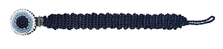 LOOP BABY blaues Schnullerband mit Namen mit t/ürkischem Auge personalisierte Schnullerkette Nazar Boncuk aus Biobaumwolle geh/äkelt