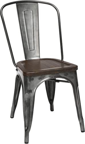 OFM 161 Collection Industrial Modern 4 Pack Fully Assembled 18″ High Back Metal Dining Chair
