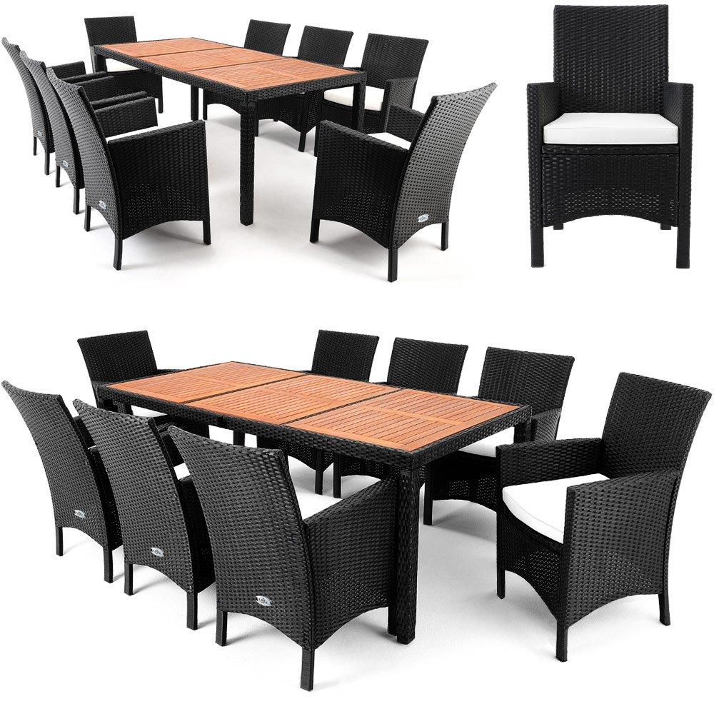 Amazon.de: Polyrattan Sitzgruppe 8+1 Tischplatte Aus Akazienholz Essgruppe  Sitzgarnitur Gartenmöbel Gartenset Rattan