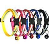 Reflective Cat Collar with Bell Cat Collars for Dog Puppy Kitten Nylon Collars (5 pack)