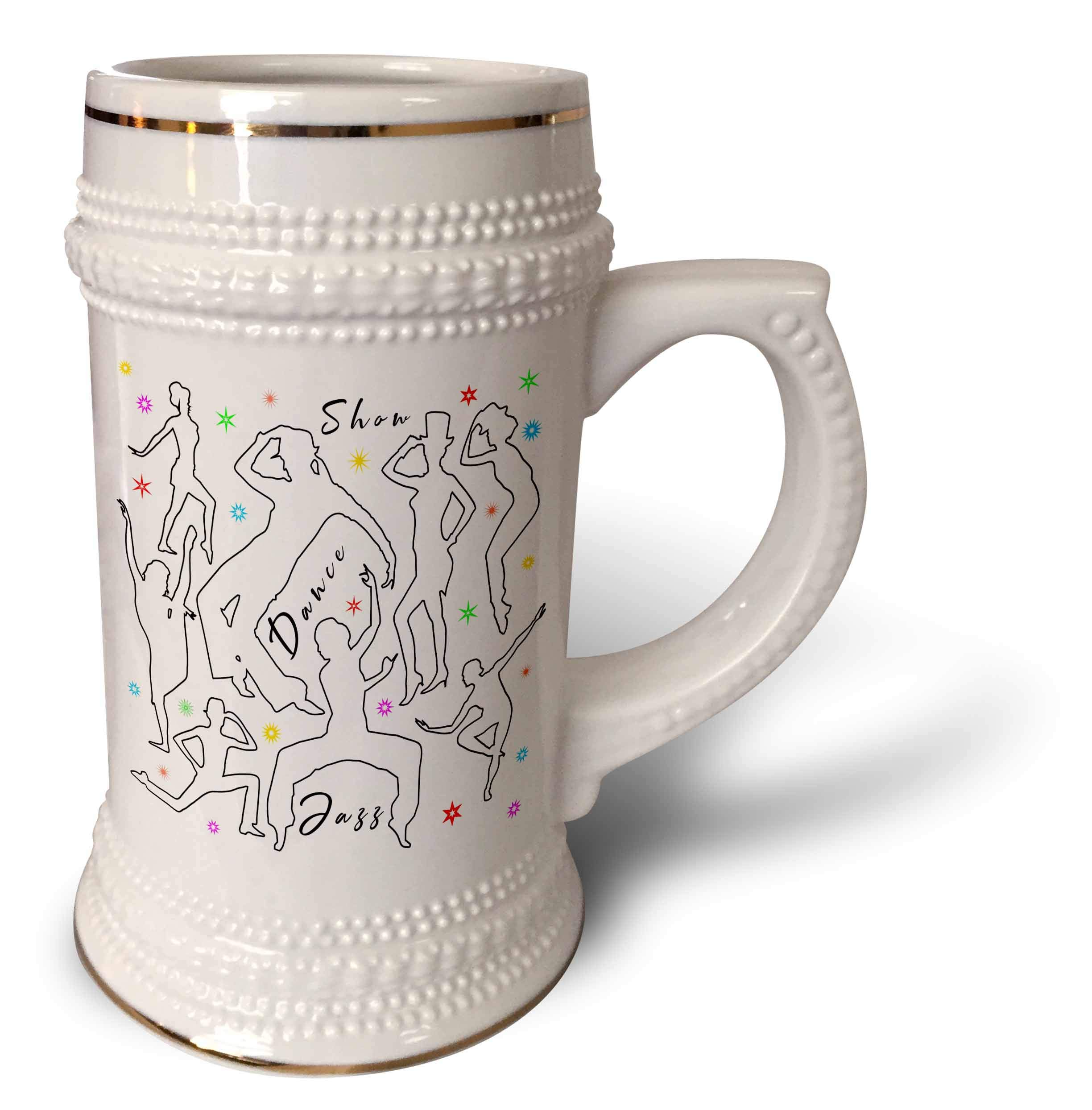 3dRose Alexis Design - Dance - Black outlined dancer silhouettes, colorful stars. Show, dance, jazz - 22oz Stein Mug (stn_295055_1)