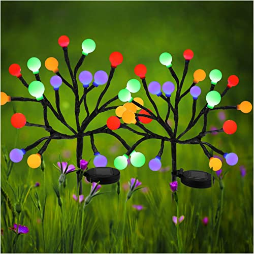 Solar Lights Outdoor – Upgraded Solar Garden Lights, Multi-Color 20 LED Solar Stake Lights Waterproof Fairy Landscape Tree Lighting for Yard, Patio, Garden, Holiday Decoration 20 Balls