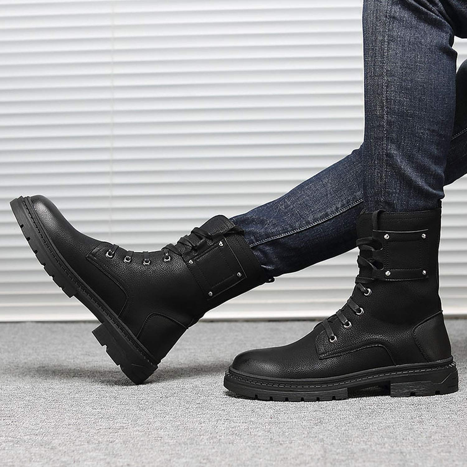 Autumn Winter Men Martin Ankle Boots High Top Lace Up Black Trend Tooling Antiskid Rubber Sole