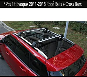 KPGDG Fit for Land Rover Range Rover Evoque 2011-2019 with sunroof 4Pcs Aluminium Roof Rail Roof Rack Cross Bars Crossbar - Silver