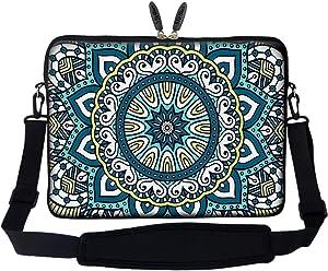 Meffort Inc 17 17.3 inch Neoprene Laptop Sleeve Bag Carrying Case with Hidden Handle and Adjustable Shoulder Strap - Mandala Design