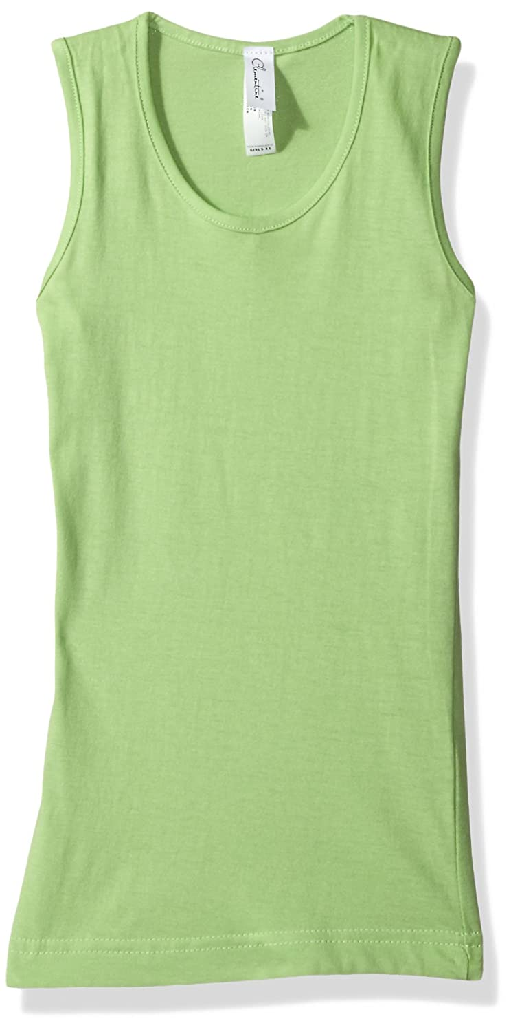 Clementine Apparel Little Girl Lightweight Casual Sport Sleeveless Crew Neck Wide Strap Tank Top Tee