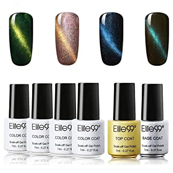7cc8df8db45 Buy Elite99 Soak Off UV LED Cat Eye Gel Nail Polish Set With Top And Base  Coat Nail Lacquers Manicure Kit Nail Art Decoration 6Pcs (0) 10 Online at  Low ...