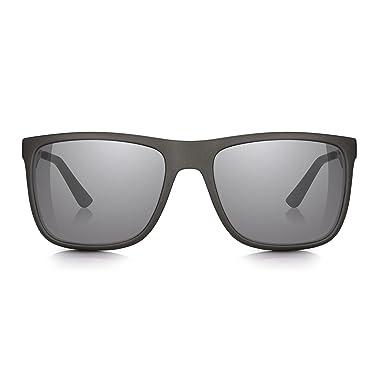c67e5979163 Sunglass Junkie Mens Matt Grey Sports Wayfarer Style Sunglasses. 100% UV  Protection Smoke Lenses with Silver Mirror. Tough