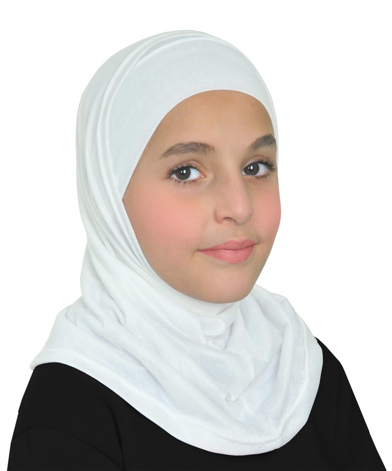 Girls Cotton Amira Hijab 2 Piece Set with Pull On Hood & Tube Cap (White)