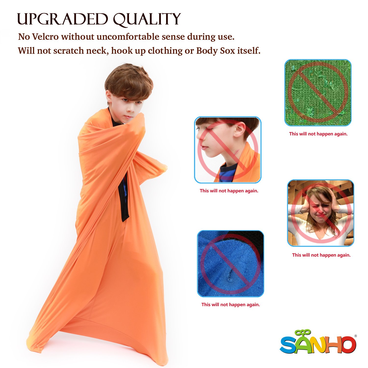 Sanho Yopo Dynamic Movement Sensory Sox, Medium,6-9 years old, 47''LX27''W Orange by Sanho Yopo (Image #3)