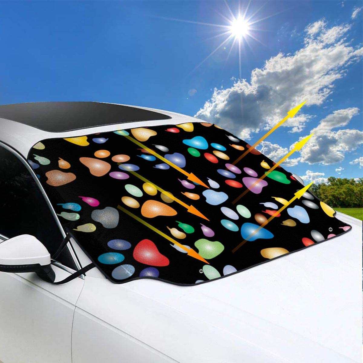 Frost Guard Winter Windshield Snow Ice Cover 57.9x46.5inch AutoSnow Windshield Visor Protector for Most Cars All Weather Waterproof Colorful Paw Prints Pattern Car Windshield Snow Cover