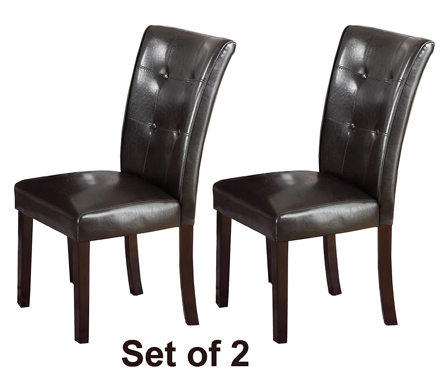 Amazon Set of Two Dark Brown Faux Leather Parson Chairs