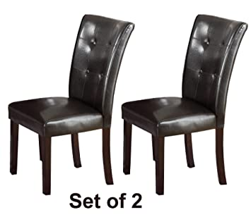 High Quality Set Of Two Dark Brown Faux Leather Parson Chairs   Walnut Legs