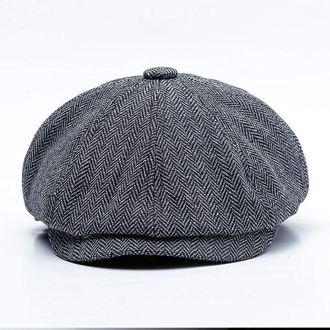 83458a18b Amazon.com: ACHKL Men Middle-aged Cotton Newsboy Hunting Hat Solid ...