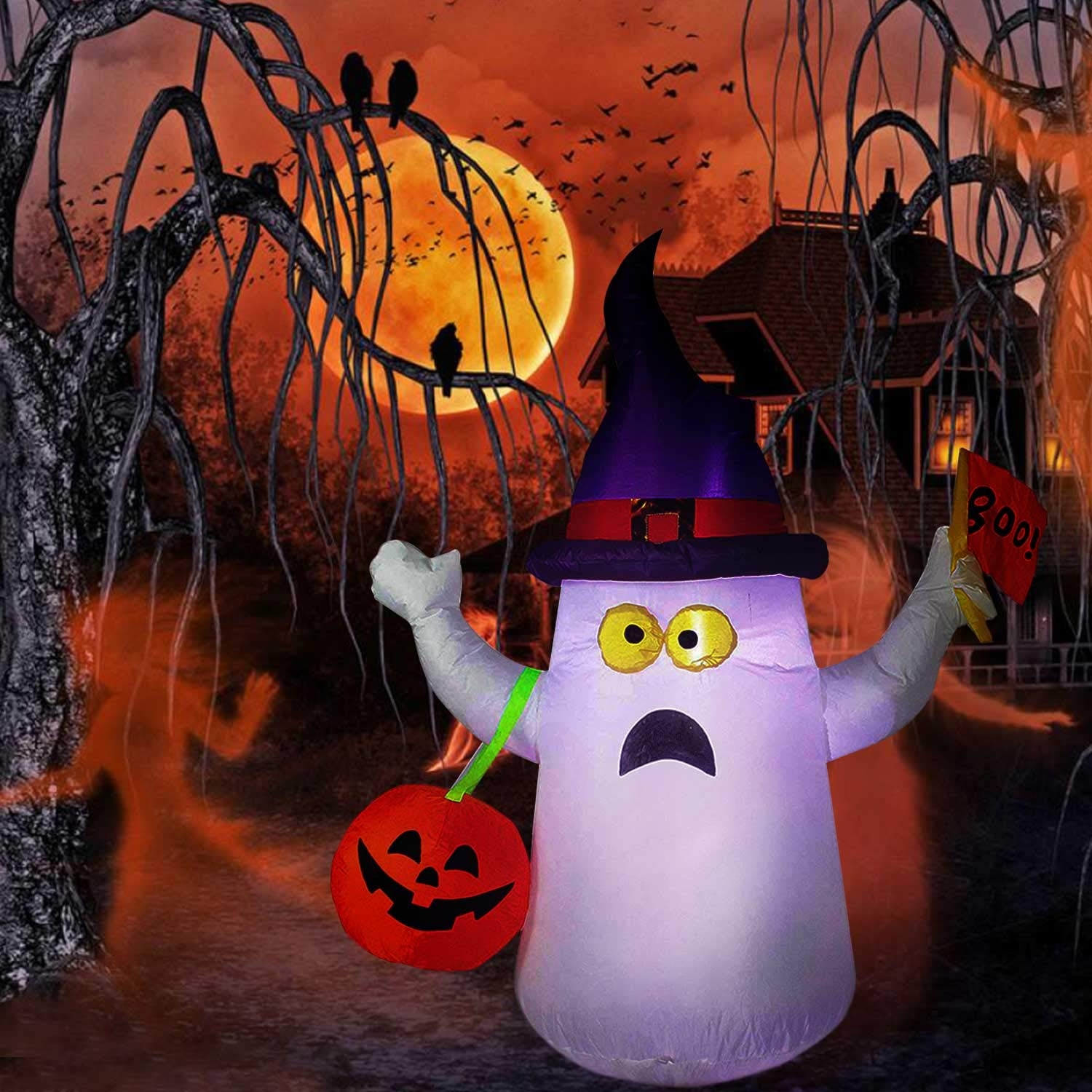 Hip Mall Halloween Inflatable Ghost, 4ft Lighted Blow Up Ghost Witch Hat Jack-O-Lantern Halloween Indoor Outdoor Yard Lawn Decoration (Purple)