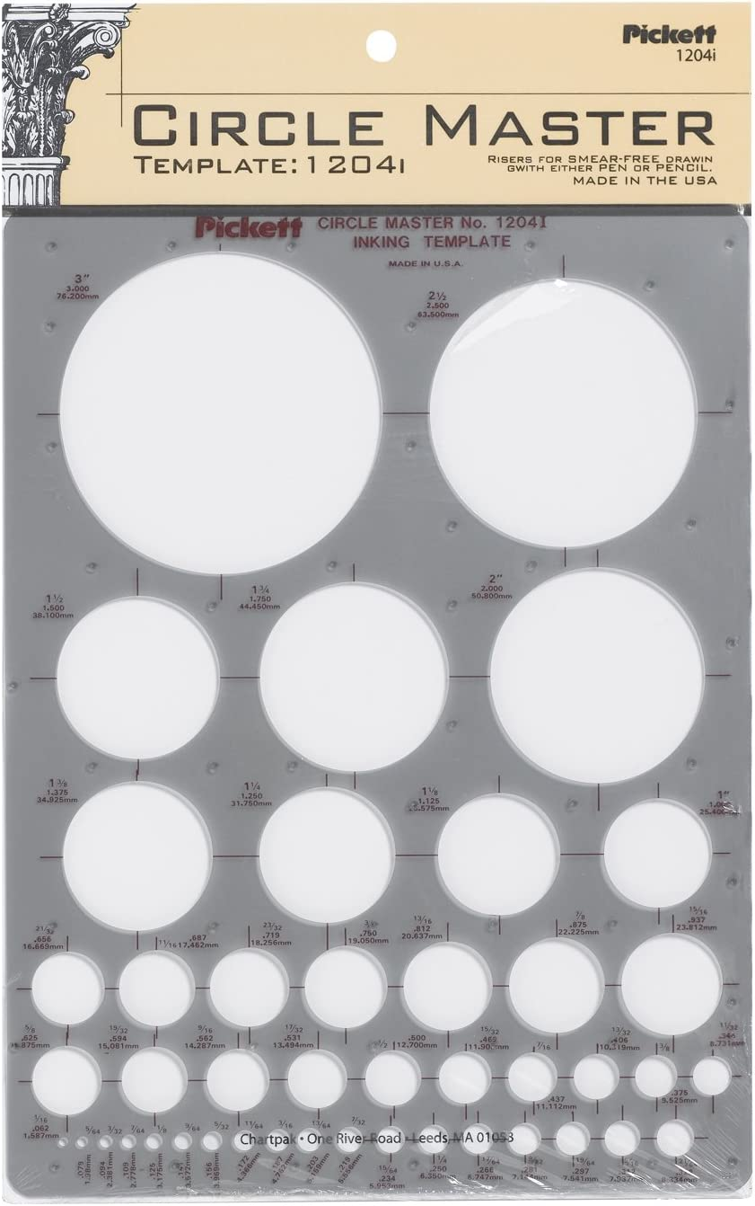Pickett CHA1204I Circle Master Template, Range From 1/16 To 3 Inches in Diameter (1204I) : Artists Drawing Aids : Office Products