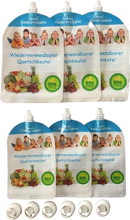 Juego de 6 – Reutilizables quetschb absorber – libre de BPA & PVC ...