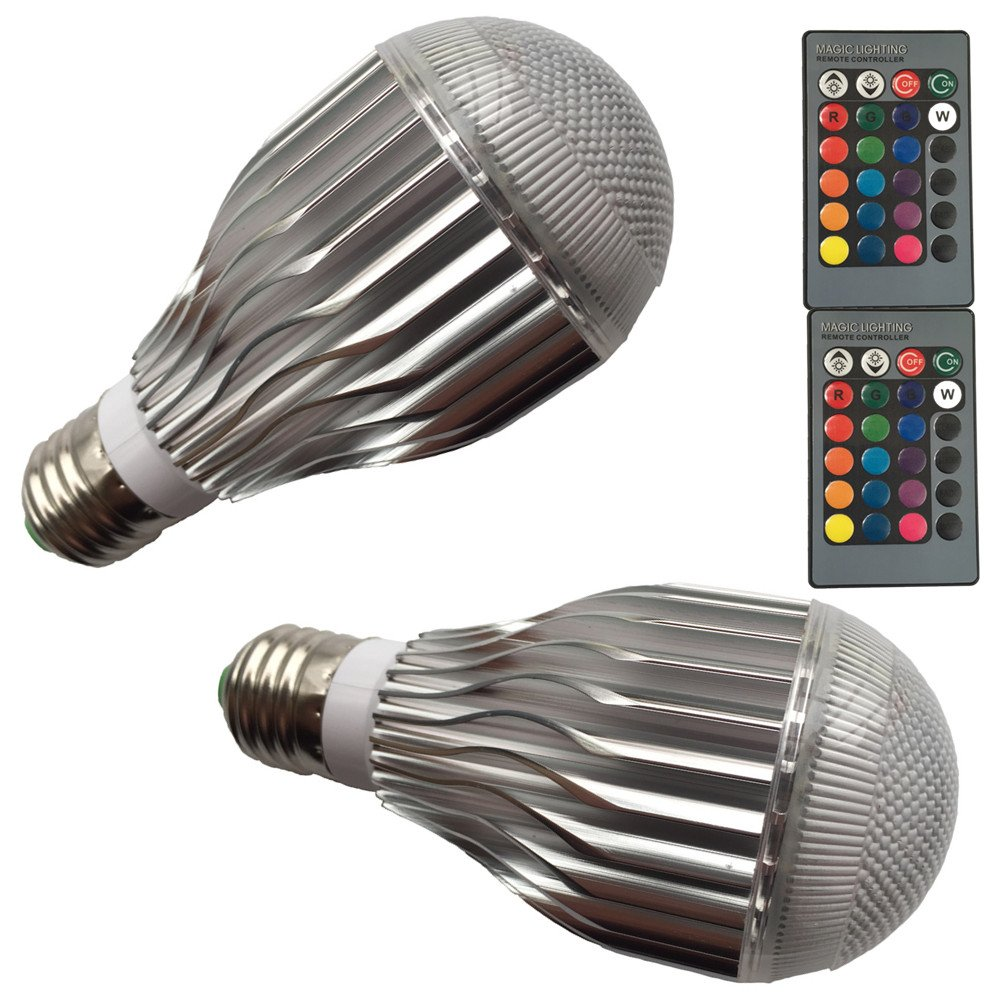 DZYDZR 2 PCS DZ001 10W RGB LED Bulb E27 Lamp LED Color Light Bulb Ambiance Lighting with Remote for Decorative Lamps Mood Lighting Party Lights