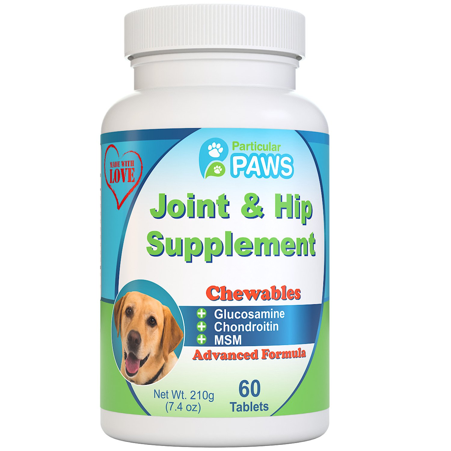 Particular Paws Glucosamine for Dogs Advanced Joint and Hip Supplement with MSM, Chondroitin, Vitamin