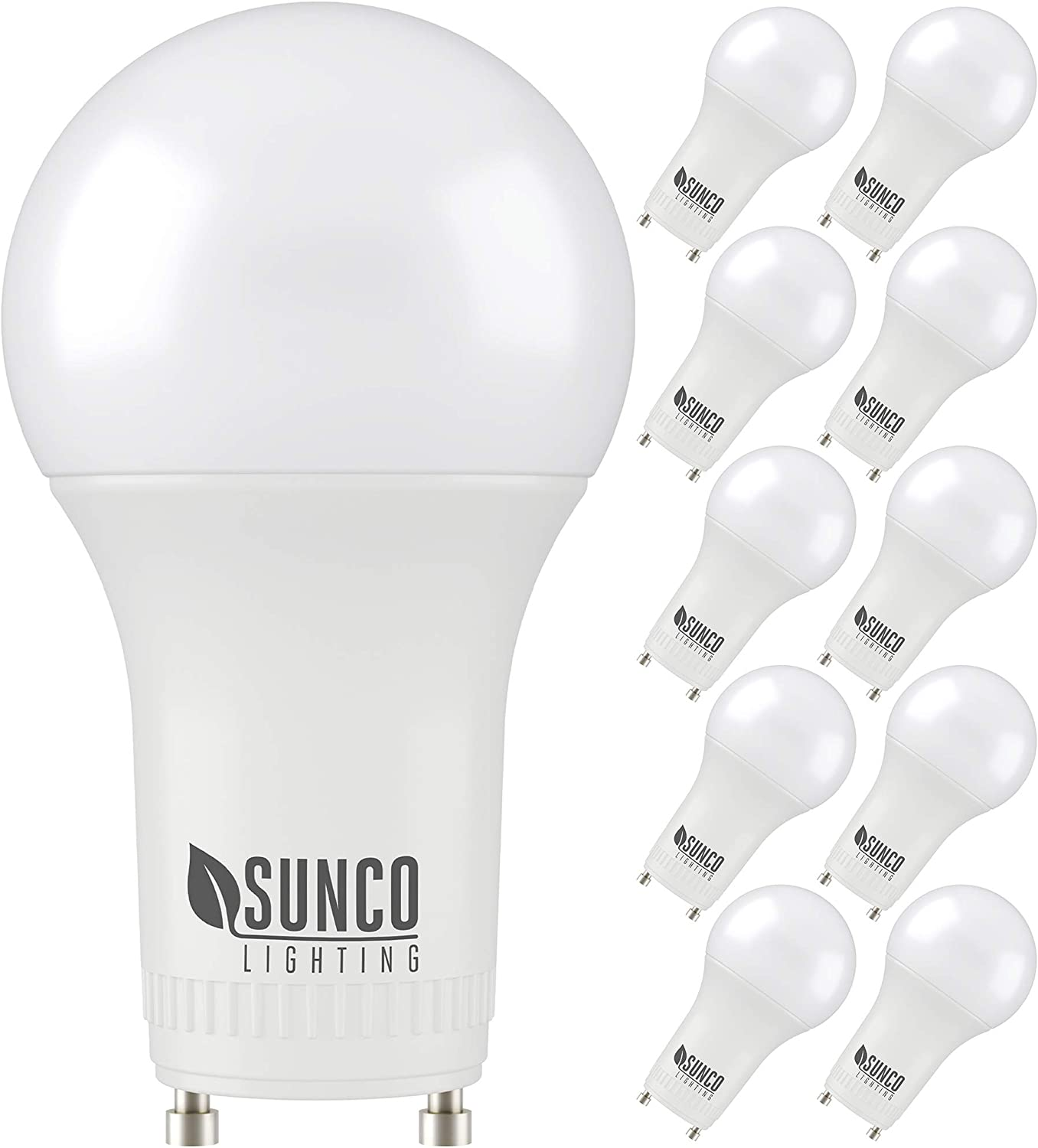 Amazon Com Sunco Lighting 10 Pack A19 Led Bulb 9w 60w Cfl Replacement 3000k Warm White 800 Lm Dimmable Twist And Lock Gu24 Pin Base Indoor Light Ul Home Improvement