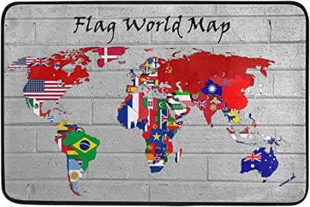 "ONEERA Flag World Map 23.6""x15.7"" Non-slip Doormat Entrance Floor Mat For Home Office Kitchen"