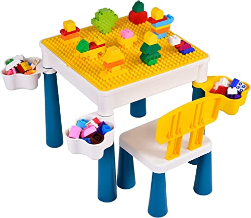Kids 5-in-1 Multi Activity Table Set,Building Block Table