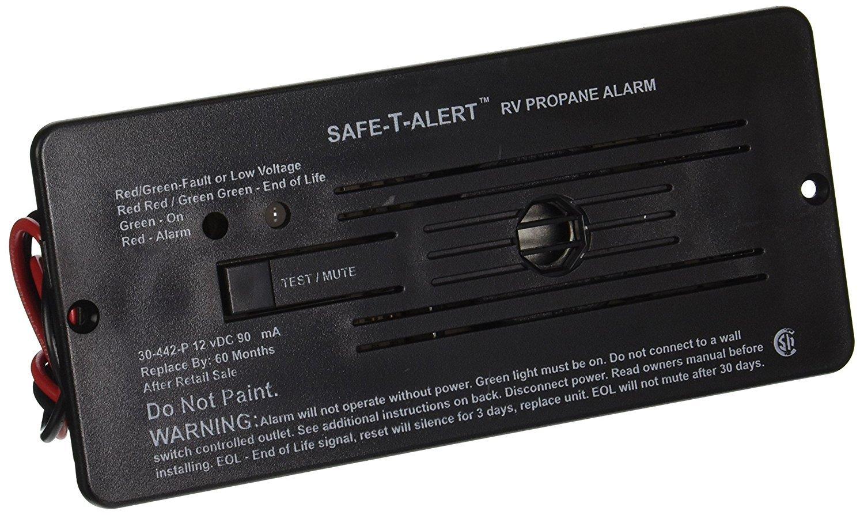 SAFE T ALERT 30-442-P-BL RV Trailer Classic Lp Gas Alarm Flush Mount Black