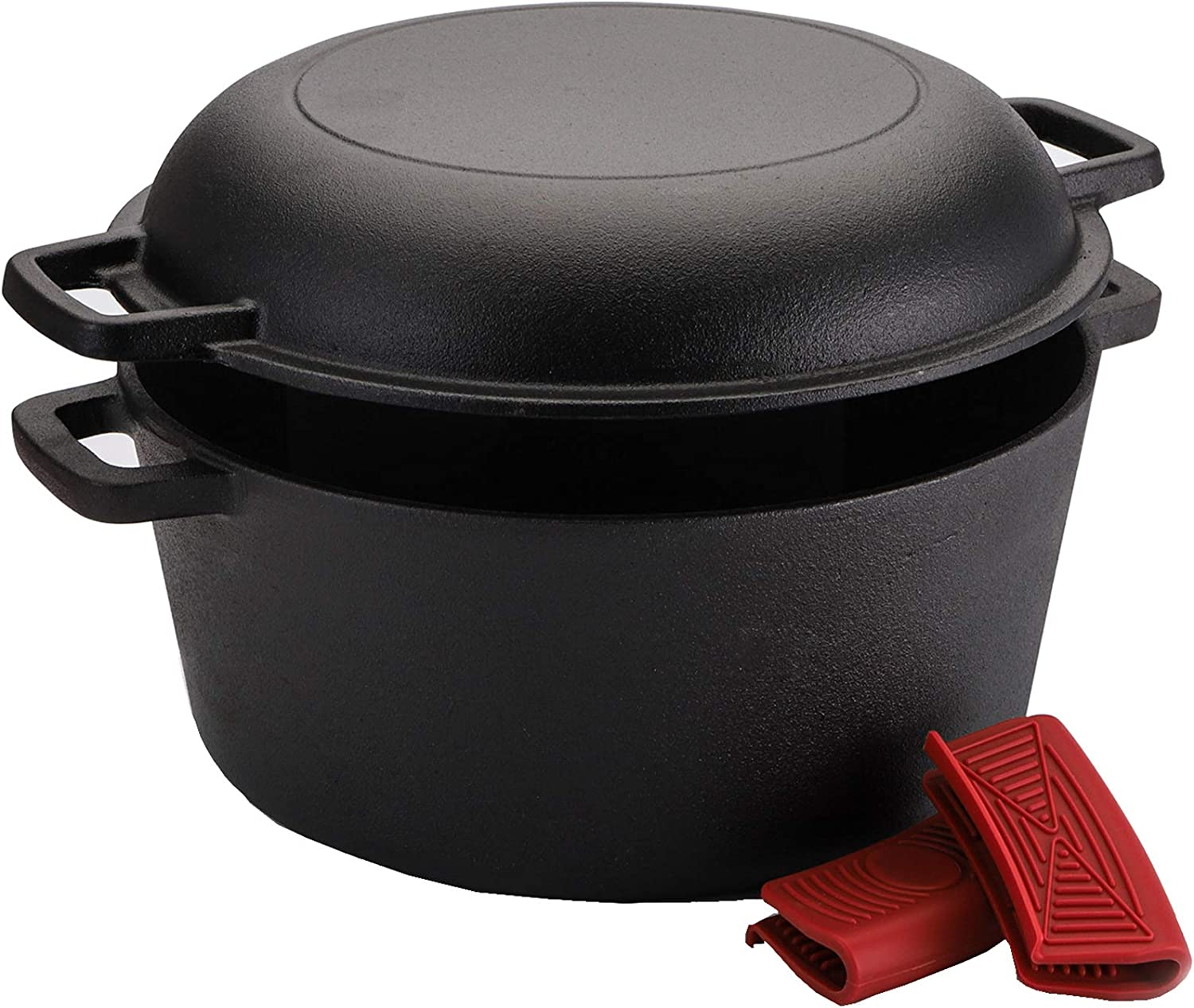 Lawei Cast Iron Dutch Oven Set - 2 In 1 Cooker, Pre-Seasoned Cast Iron Skillet - 5 Quart Casserole Pot 10 Inch Frying Pan for Bread, Frying, Cooking