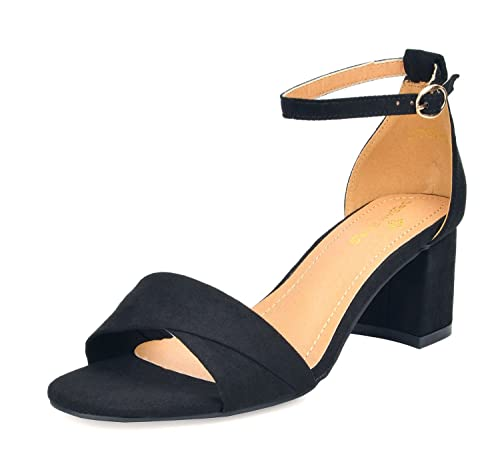 027724dc6 DREAM PAIRS Women s Duchess 03 Black Fashion Block Ankle Strap Heeled  Sandals Size 5 B(M
