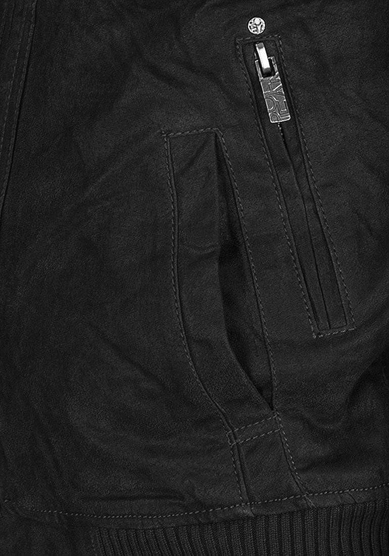 !Solid Dash Giacca in Pelle Giubotto di Pelle Giacche da UomoCon Collo Alto Vera Pelle Nero