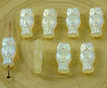 22pcs Small AB Two-Sided Czech Glass Owl Beads Bird Animal Halloween 15mm x 7mm
