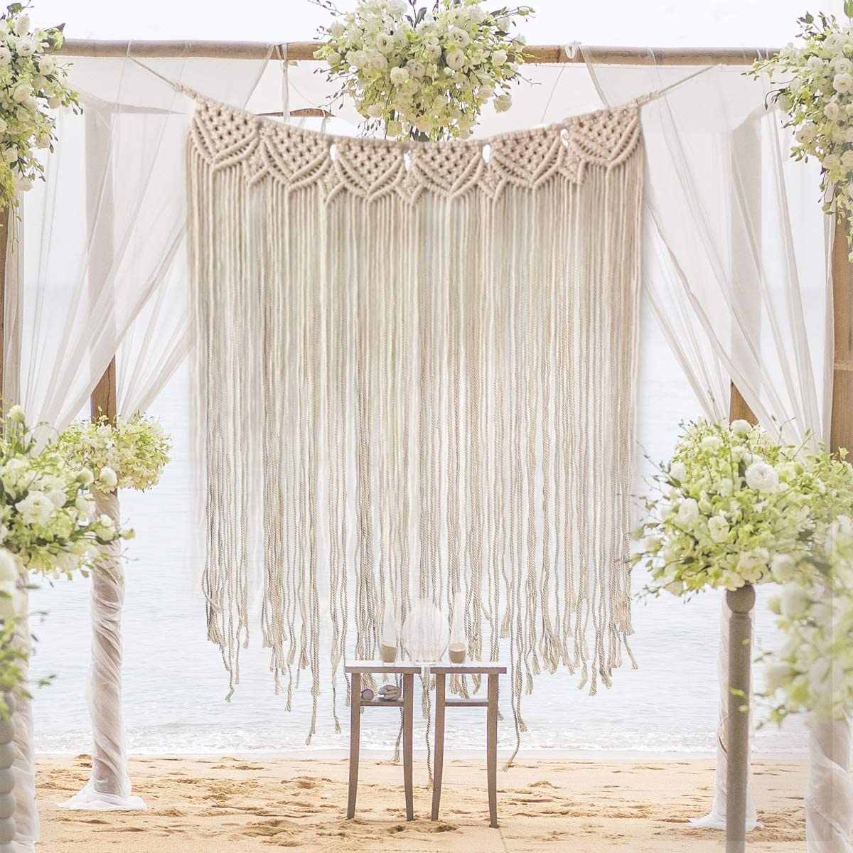 "Gute Macrame Wall Hanging, Large Woven Wall Hangings, Boho Cotton Handmade Macrame Backdrop Wall Decor for Wedding Living Room Bedroom Gallery, 39""x 33"""