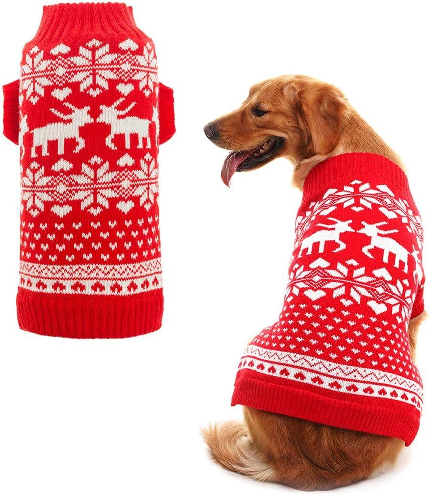 Gr/ö/ße M Rot klassisch BINGPET Hundepullover mit Rentiermotiv