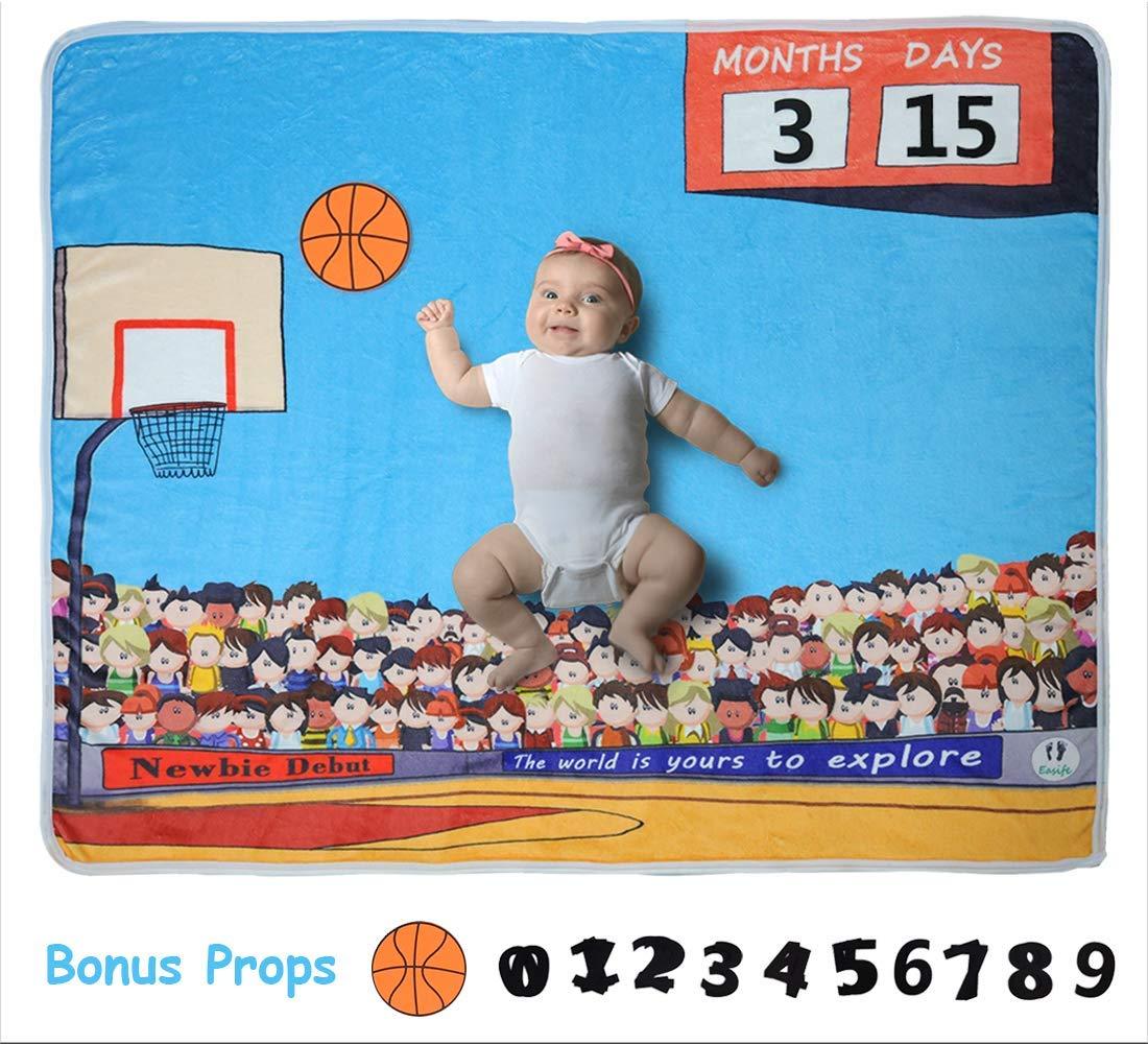 Easife 新生児用 赤ちゃん用マンスリーマイルストーンブランケット ユニークなバスケットボールデザイン Easife ソフトで厚手のフリース B07ML486G5 写真撮影用背景 新生児用 フォトプロップス付き B07ML486G5, ゴルフ観音さま:e75f3867 --- ijpba.info