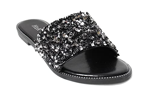 c442007f1 H2K Womens Glitter Bling Jewel Stone Fancy Slide Flat Low Wedge Sandals  Shoes Dream (5