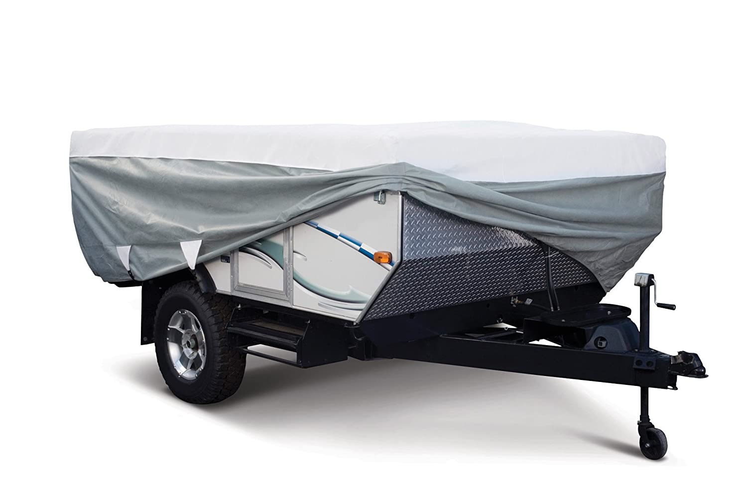 Classic Accessories OverDrive PolyPRO 3 Deluxe Pop-Up Camper Trailer Cover, Fits up to 8' 6' Trailers - Max Weather Protection with 3-Ply Poly Fabric Roof RV Cover (80-209-303101-00) CLASSIC ACCESSORIES INC