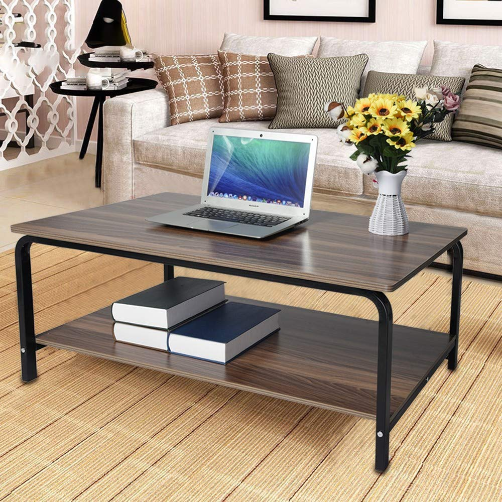 Coffee Table for Living Room Black - US Stock- Fooeedd Long Couch End Table for Living Room Sturdy Sofa Table Entryway Accent Table (B)