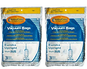 6 Eureka Type RR Upright Allergy Vacuum Bags, Omega Upright, Ultra, Boss Smart Vacuum Cleaners, 4800 Series...4870, 4874, 4875, 61115, 61115-12 (Filteraire), 4870GZ, 4870GZX, 4870J, 4870K, 4870M, 4870MZ