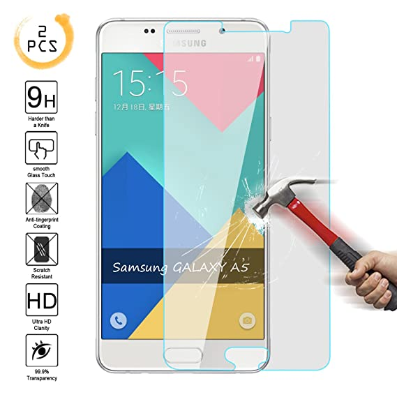 [2PCS] Samsung Galaxy A5 [2015 Edition] Tempered Glass Screen Protector  ,Kmall 0 26mm HD Clear 9H Hardness Oleophobic Coating Screen Film Cover For
