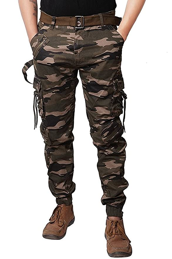 Bhagwati Store Men's Cotton Army Print Camouflage Combat Dori Style Relaxed Fit Cargo/Jogger Jeans Pants (34)