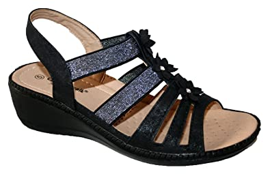 a3963fb8dde Cushion Walk Ladies Lightweight Summer Slingback Wedge Heel Comfort Sandal  (UK4