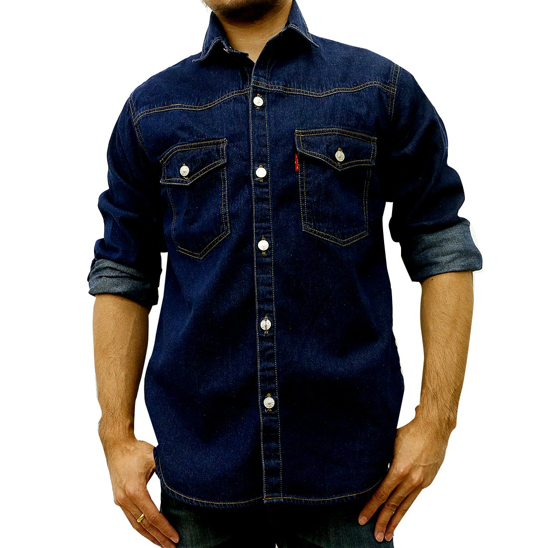 Taruron Denim Washed, Blue, Dark Jeans Casual Jacket for Men