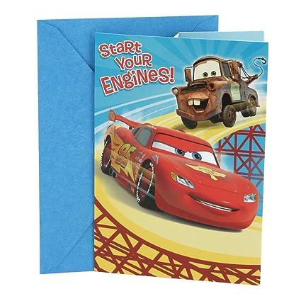 Amazon Hallmark Disney Cars Birthday Card For Kids Lightning