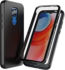 Nuomaofly for Moto G Play 2021 Case with Built-in Screen Protector Designed, Full-Body Heavy Drop Protection Shock Absorption Cover for Motorola Moto G Play 2021 - Black
