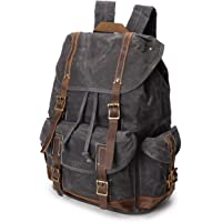 Men's Backpack Crazy Horse Oil Wax Canvas Bag Retro Waterproof Travel Outdoor Backpack (Color : Chrome, Size : M)