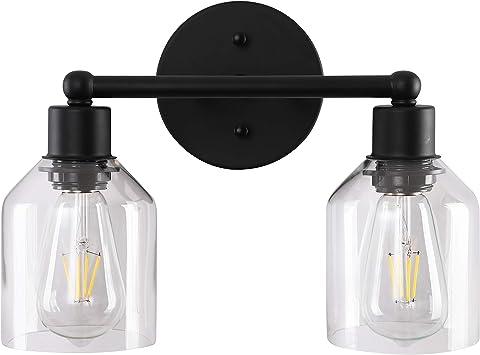 Black Bathroom Vanity Light Fixtures Farmhouse Industrial Bathroom Lighting Over Bath Makeup Mirror with Clear Glass Shades(2 Lights)
