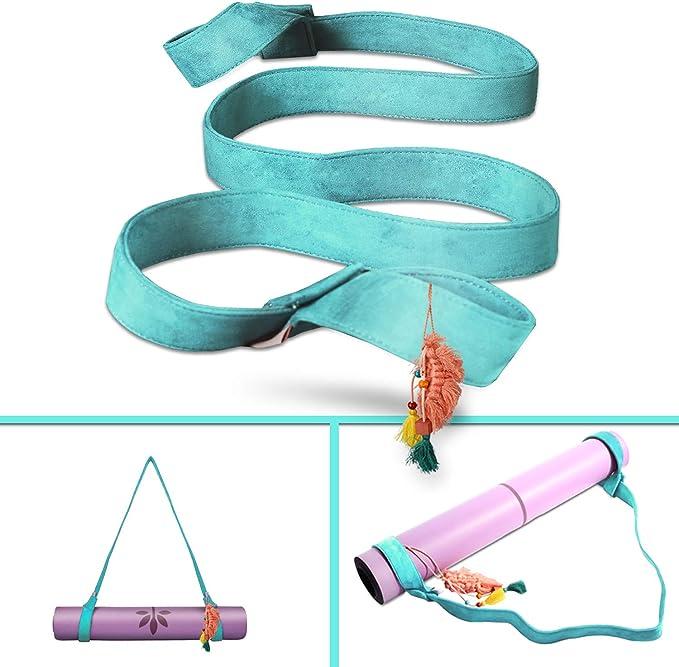 Kathleen0 Yoga Mat Strap Universal Gym Transporter Exercise arrier Useful Elastic Portable Adjustable Sling Shoulder Belt Accessories Fitness Sport Tool Pink+White
