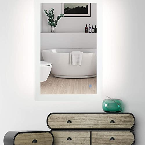 CO-Z 32 X 24 Bathroom Vanity Mirror with LED light Plug in, Dimmable LED Bathroom Mirror Wall Mounted Horizontal Vertical, Rectangle Lighted Makeup Mirror Backlit Large Size Memory Touch Control